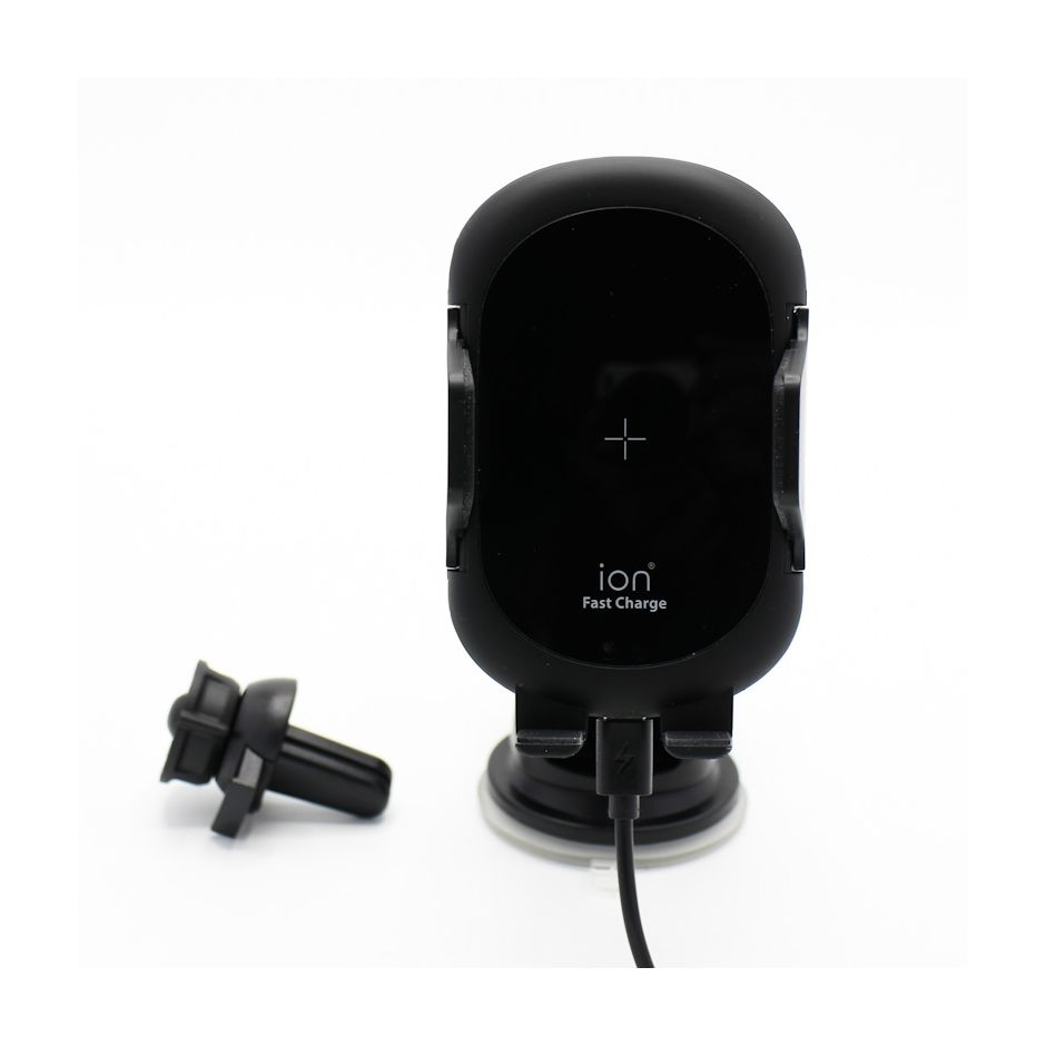 iON 3 in 1 Automatic Sensor Clamping Qi Wireless Fast Charge Retractable Short & Long Extension Universal Car Mount